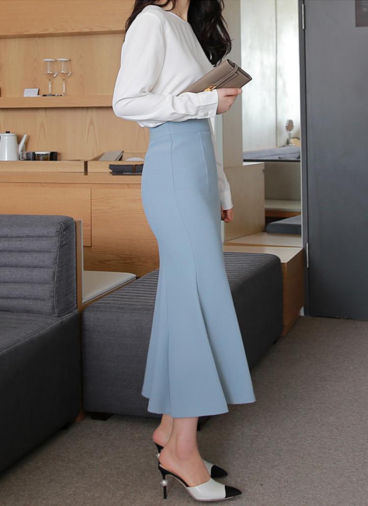 ロングマーメイドラインスカート