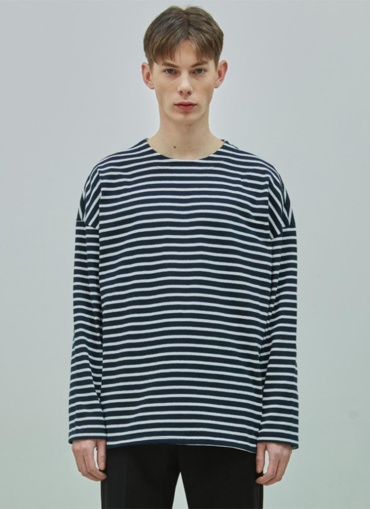 オーバードロップボーダーTシャツ(ネイビー/ホワイト)