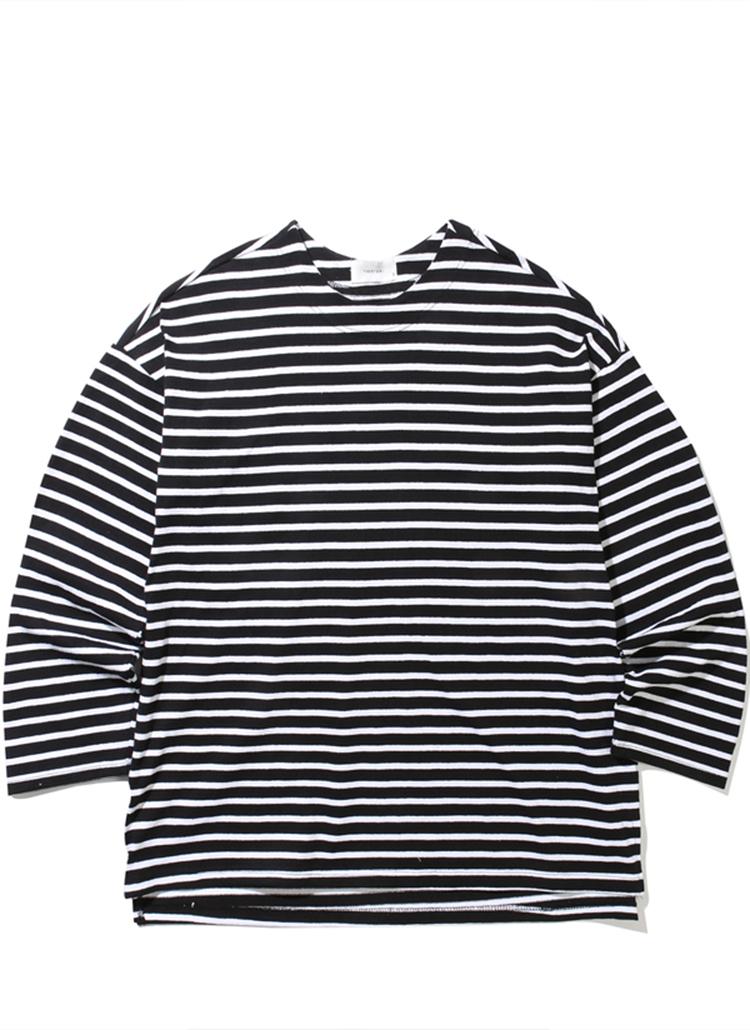 オーバードロップボーダーTシャツ(ブラック/ホワイト)