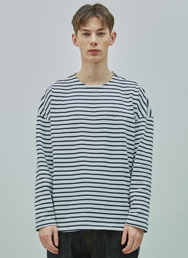 オーバードロップボーダーTシャツ(ホワイト/ネイビー)