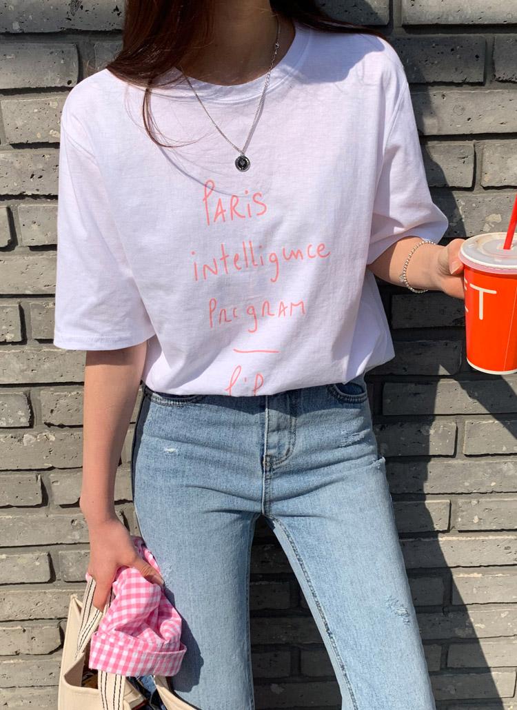 parisレタリング半袖Tシャツ