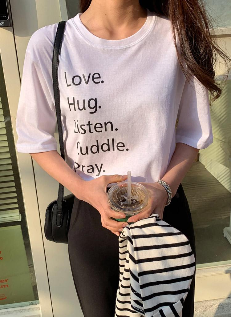 Hugレタリング半袖Tシャツ