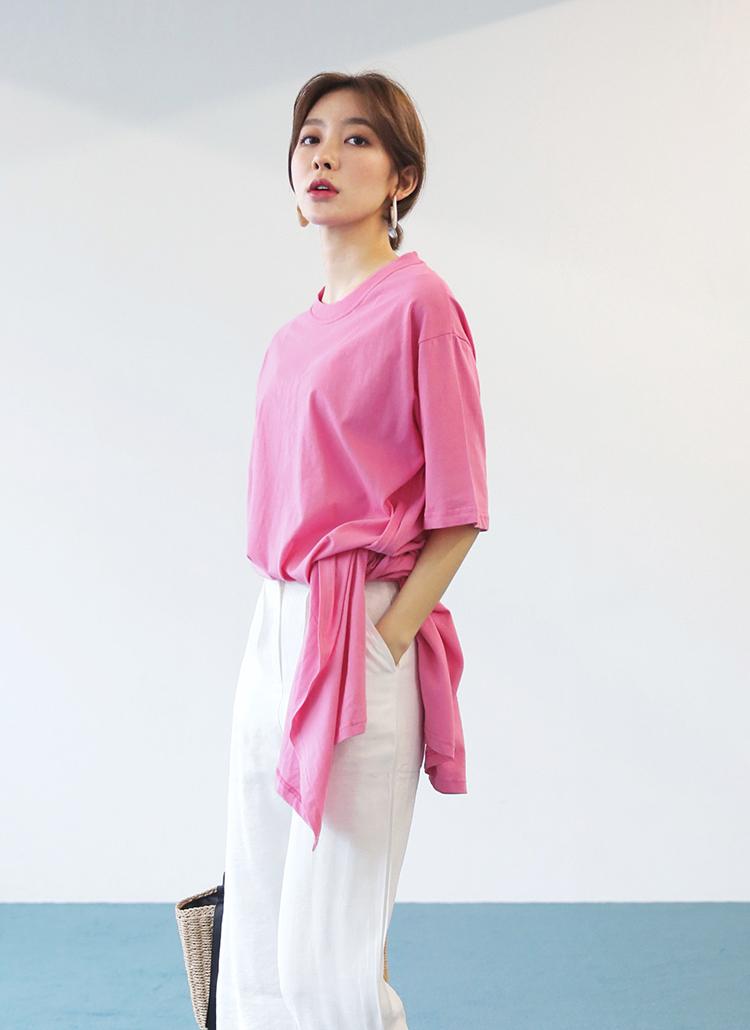 ディープスリットロングTシャツ・全6色