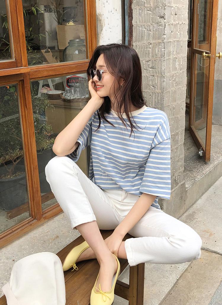 スリットヘム半袖ボーダーTシャツ・全3色