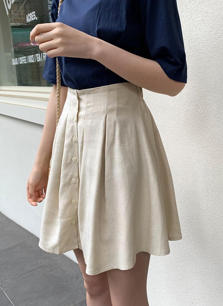 リネンボタンフレアミニスカート・全3色