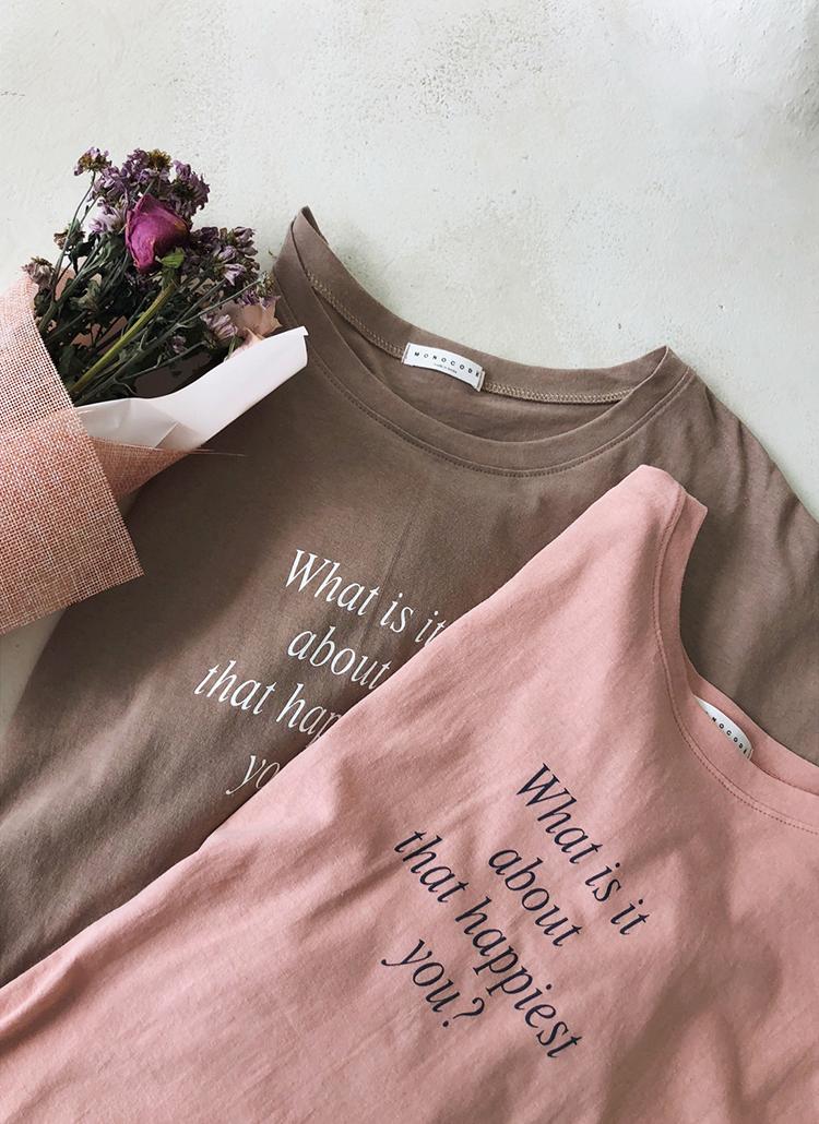ハーフスリーブレタリングTシャツ・全4色