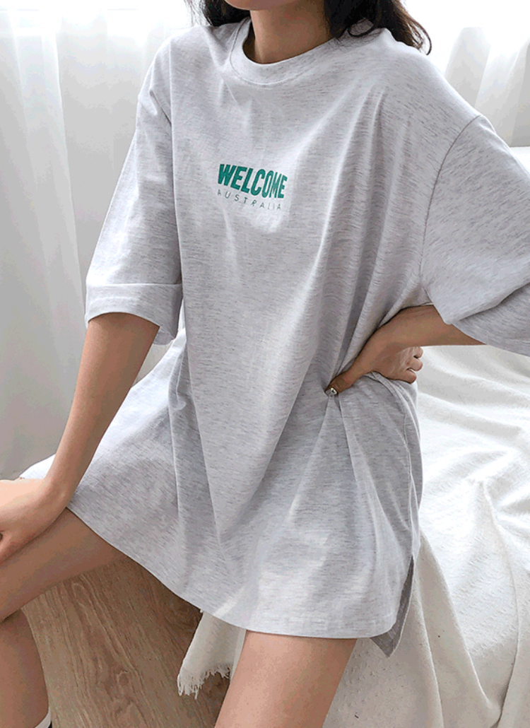 WELCOMEロゴボクシーTシャツ