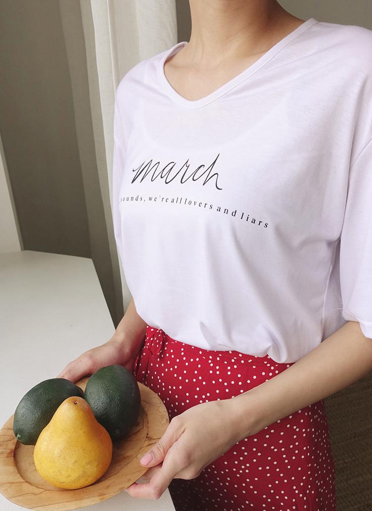 レタリングUネックTシャツ・全5色