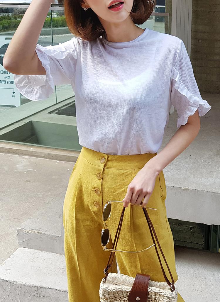 フリルスリーブテクスチャーTシャツ・全5色