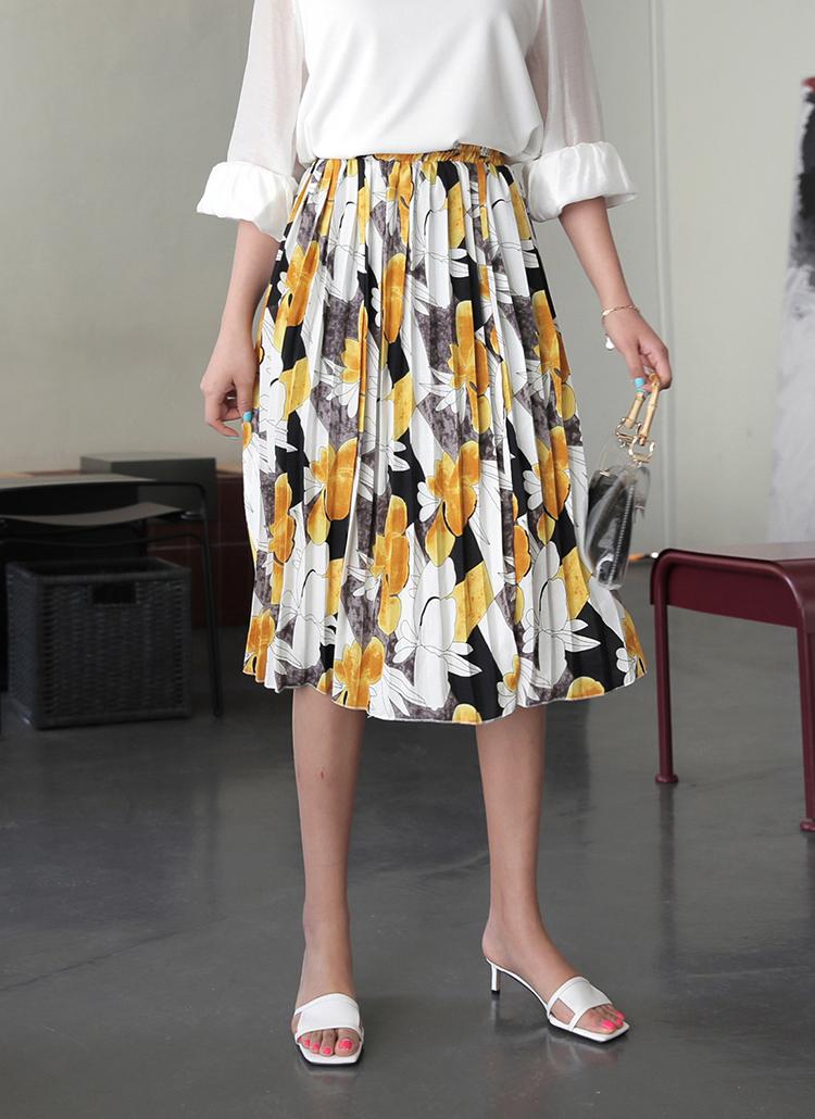 フローラルプリントプリーツスカート・全3色