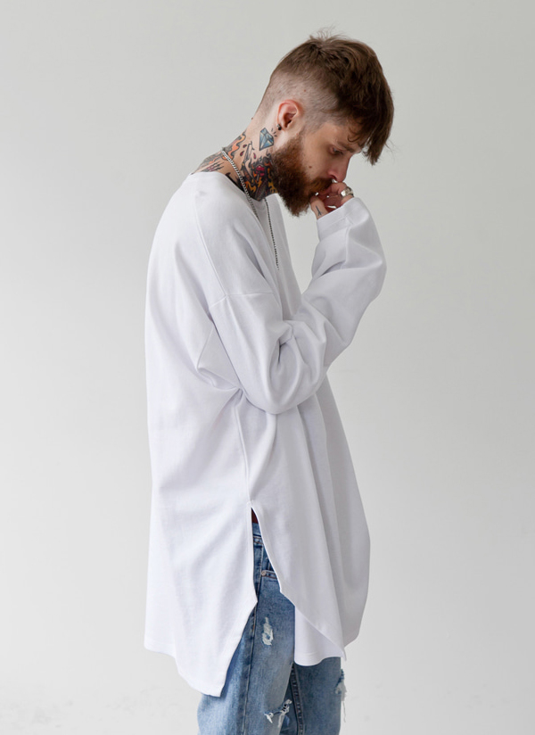 サイドスリットコットンスラブTシャツ