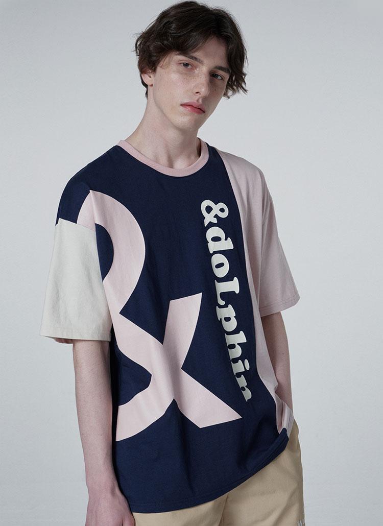 &カラーブロックTシャツ(ネイビー)