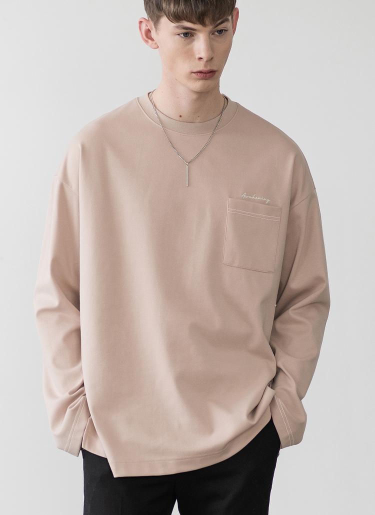 ロングスリーブポケットTシャツ(ベージュ)