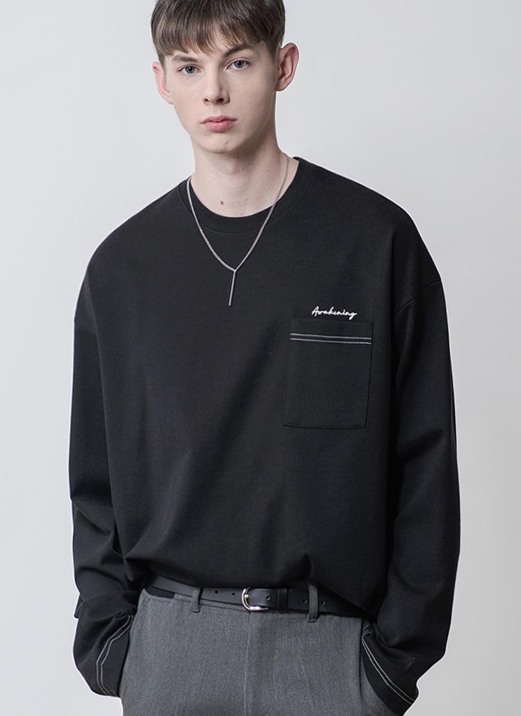 ロングスリーブポケットTシャツ(ブラック)