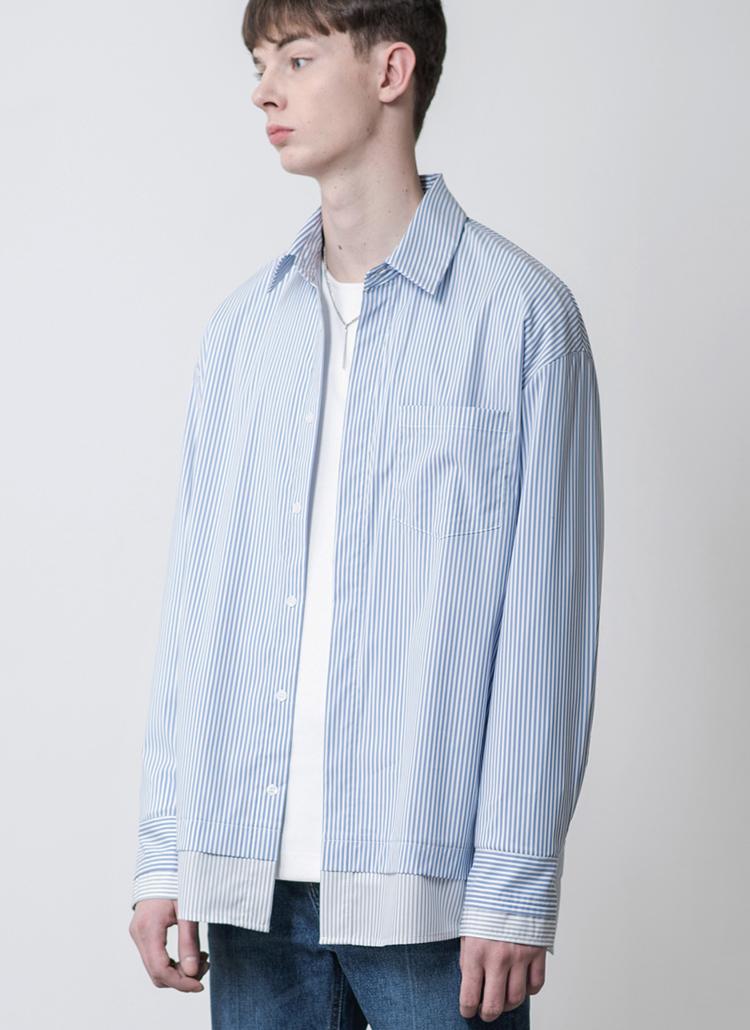 ストライプミックスオーバーフィットシャツ