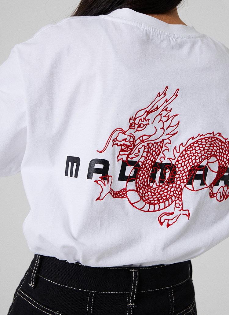 DRAGONプリント半袖Tシャツ(ホワイト)