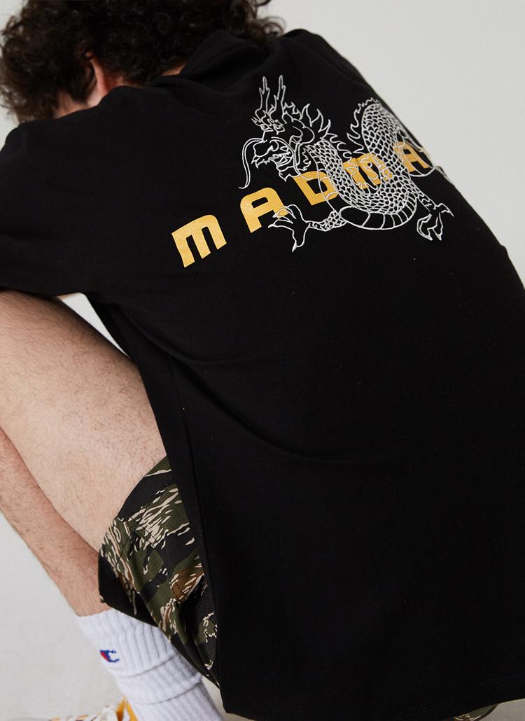 DRAGONプリント半袖Tシャツ(ブラック)