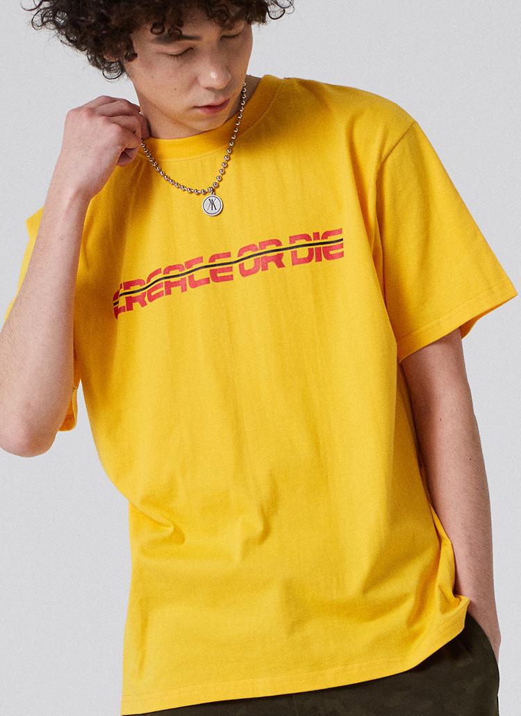 DRAGONプリント半袖Tシャツ(イエロー)