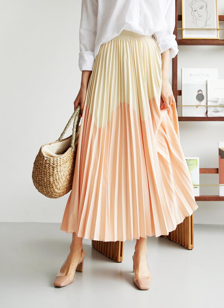 ウェーブバイカラープリーツスカート・全2色