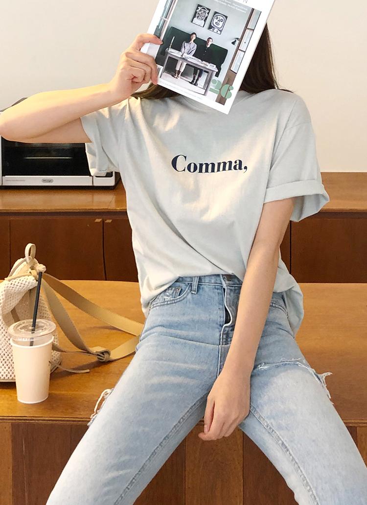 Comma,コットンTシャツ・全3色