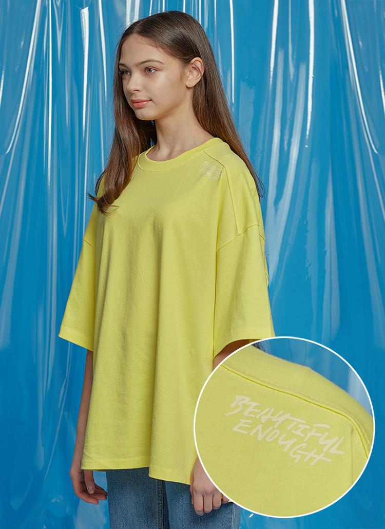 レタリングオーバーサイズTシャツ(イエロー)