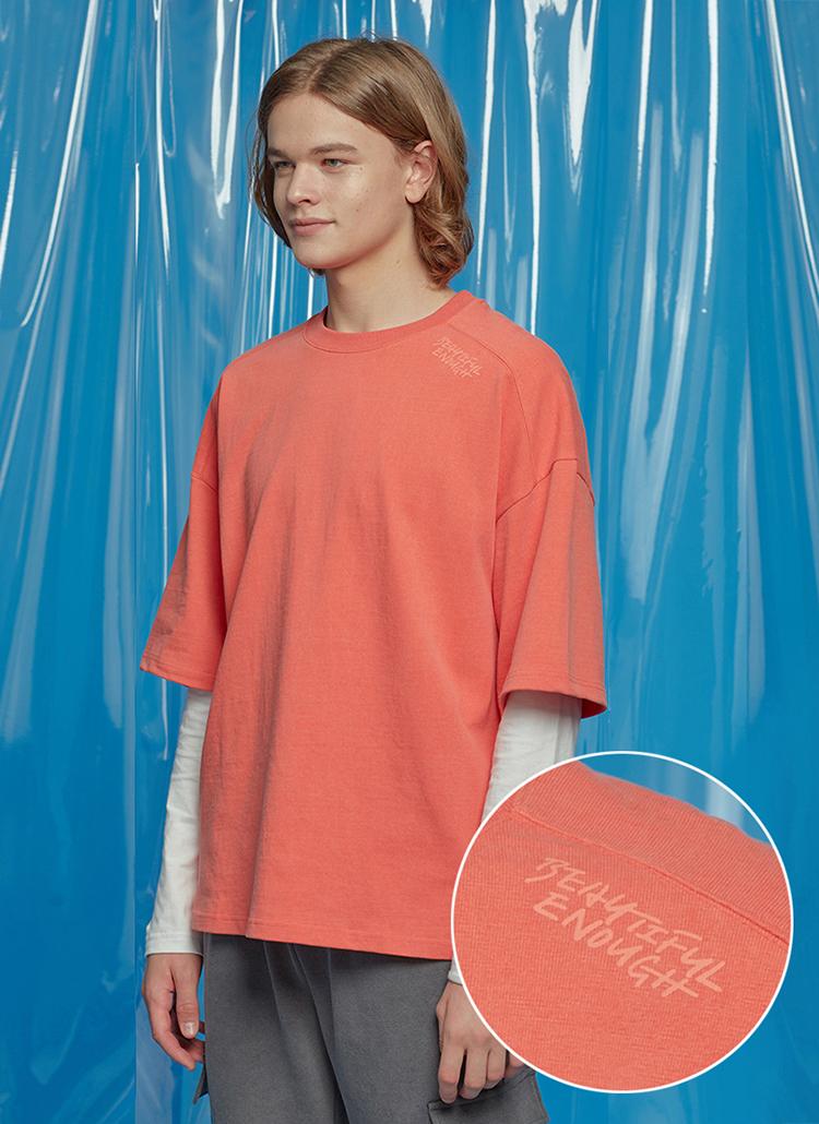 レタリングオーバーサイズTシャツ(オレンジ)