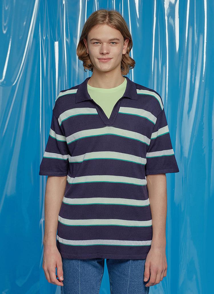 ボタンレスポロカラーボーダーTシャツ(ネイビー)