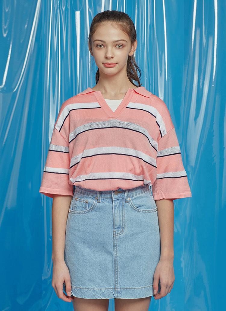 ボタンレスポロカラーボーダーTシャツ(ピンク)