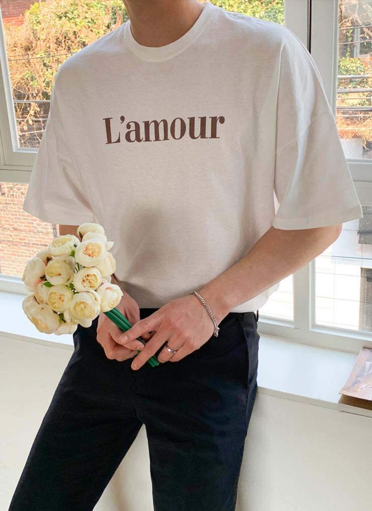 L'amourレタリング半袖Tシャツ