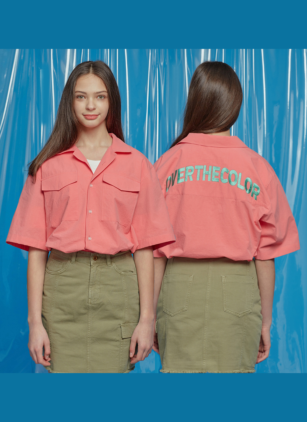 バックレタリングポケットシャツ(コーラル)