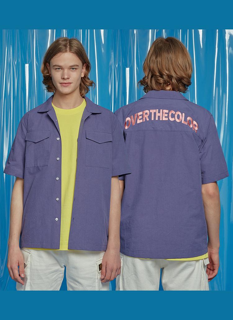 バックレタリングポケットシャツ(ネイビー)