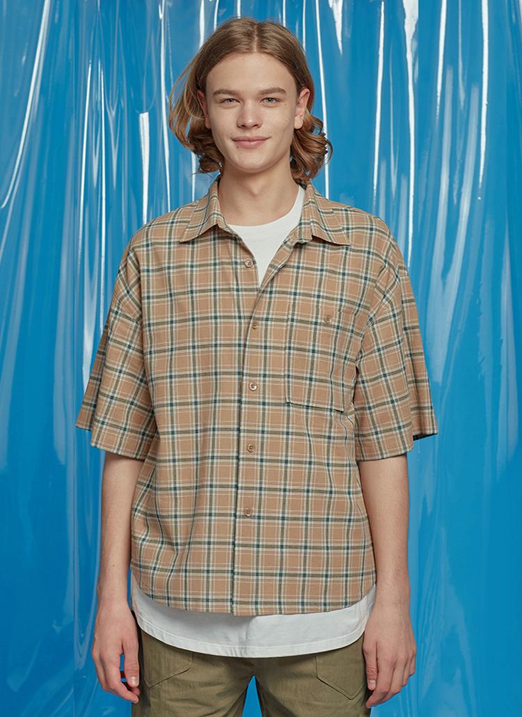 ドロップショルダーチェックシャツ(ベージュ)
