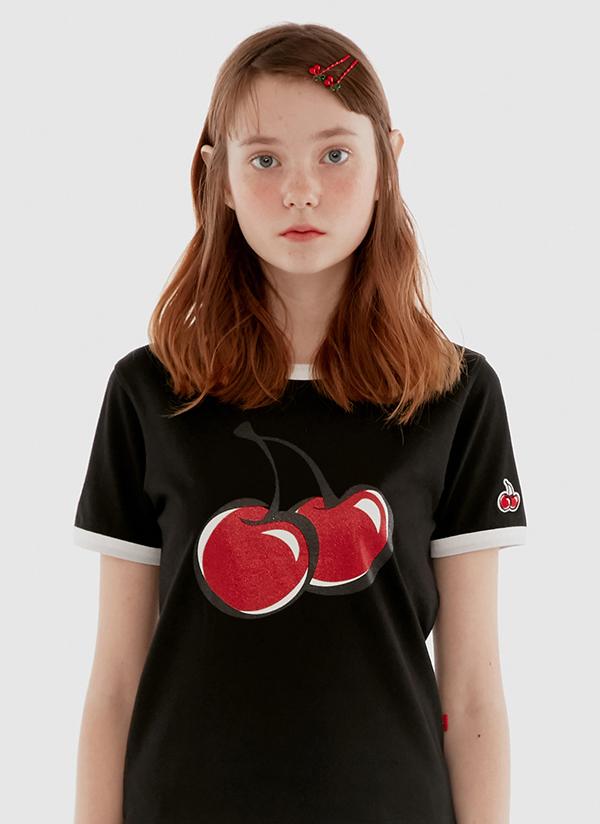 チェリーグリッターパイピングTシャツ(ブラック)