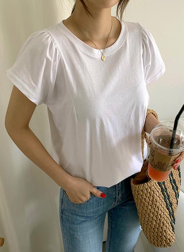 シャーリングパフスリーブTシャツ