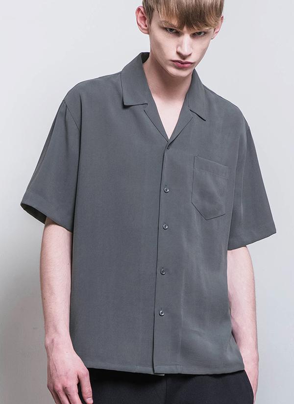 オープンカラーワンポケットハーフスリーブシャツ(ダークグレー)
