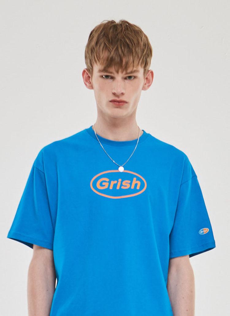GrishサークルロゴTシャツ(パウダーブルー)