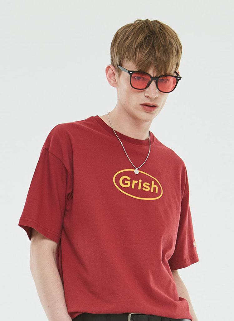 GrishサークルロゴTシャツ(バーガンディ)