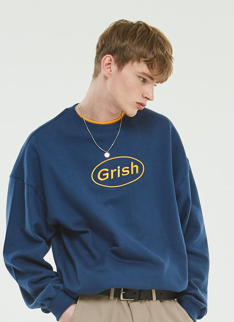Grishサークルロゴスウェットシャツ(インディゴ)