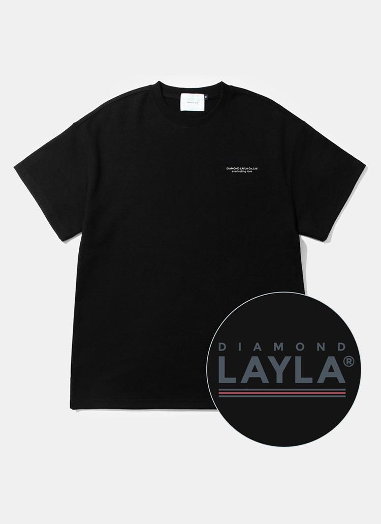 アンダーラインショートスリーブTシャツ(ブラック)