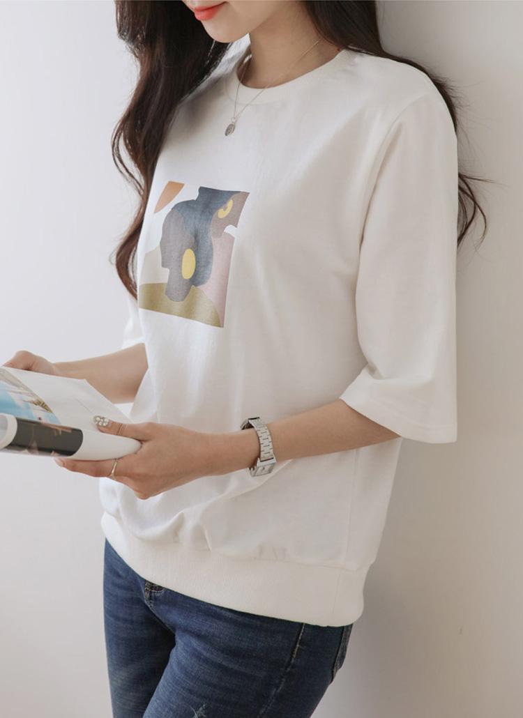カラープリンティング半袖Tシャツ