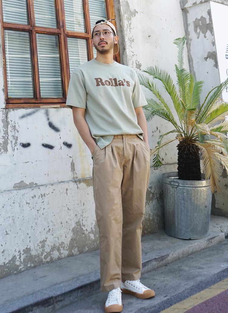 ウエストゴムボタン綿パンツ