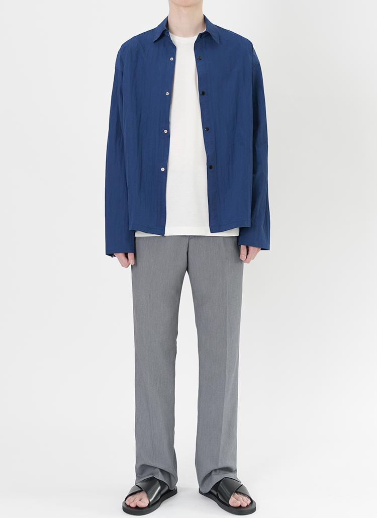 リンクルシャツジャケット(コバルトブルー)