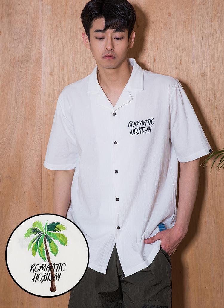 ロゴ刺繍半袖シャツ(ホワイト)