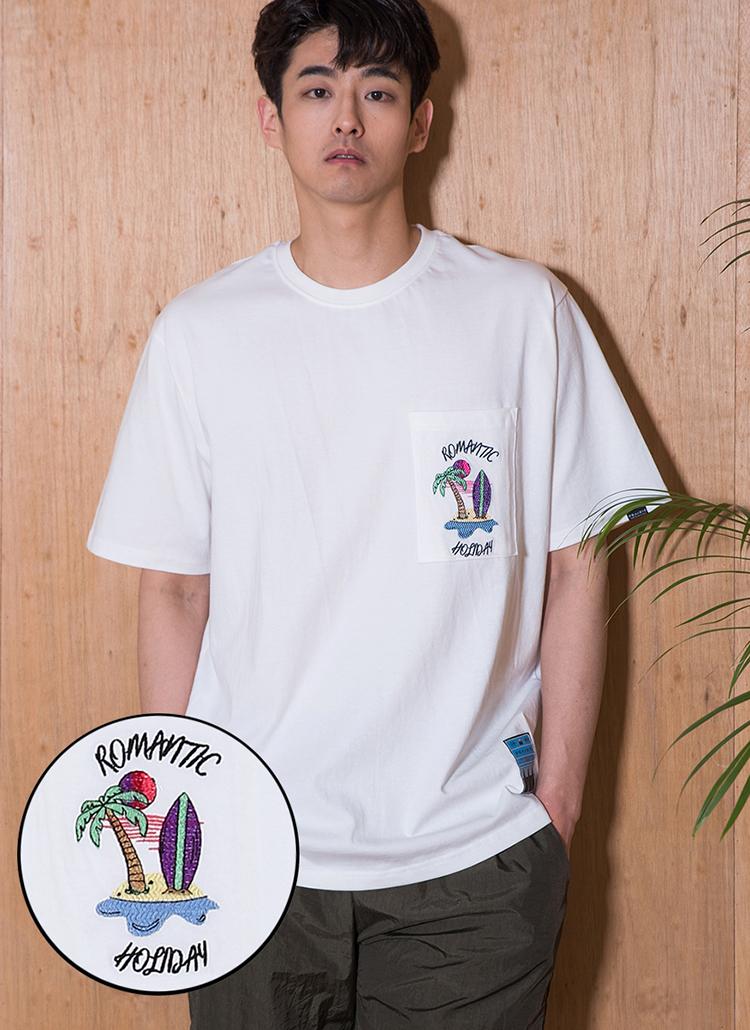 ロゴ刺繍ポケットTシャツ(アイボリー)