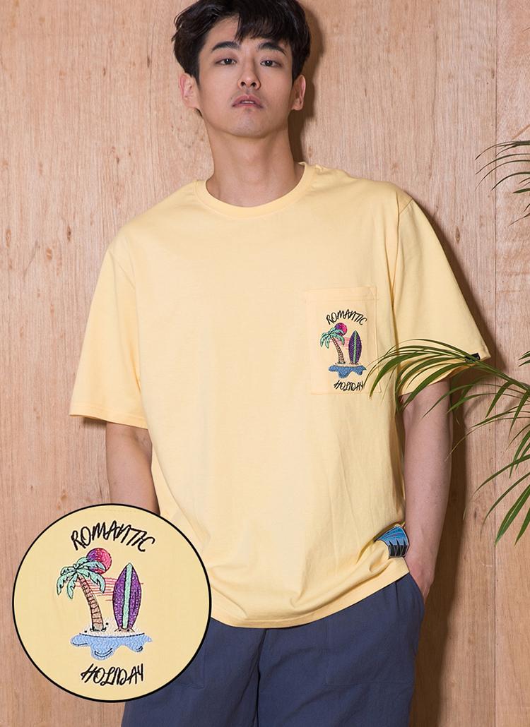 ロゴ刺繍ポケットTシャツ(イエロー)