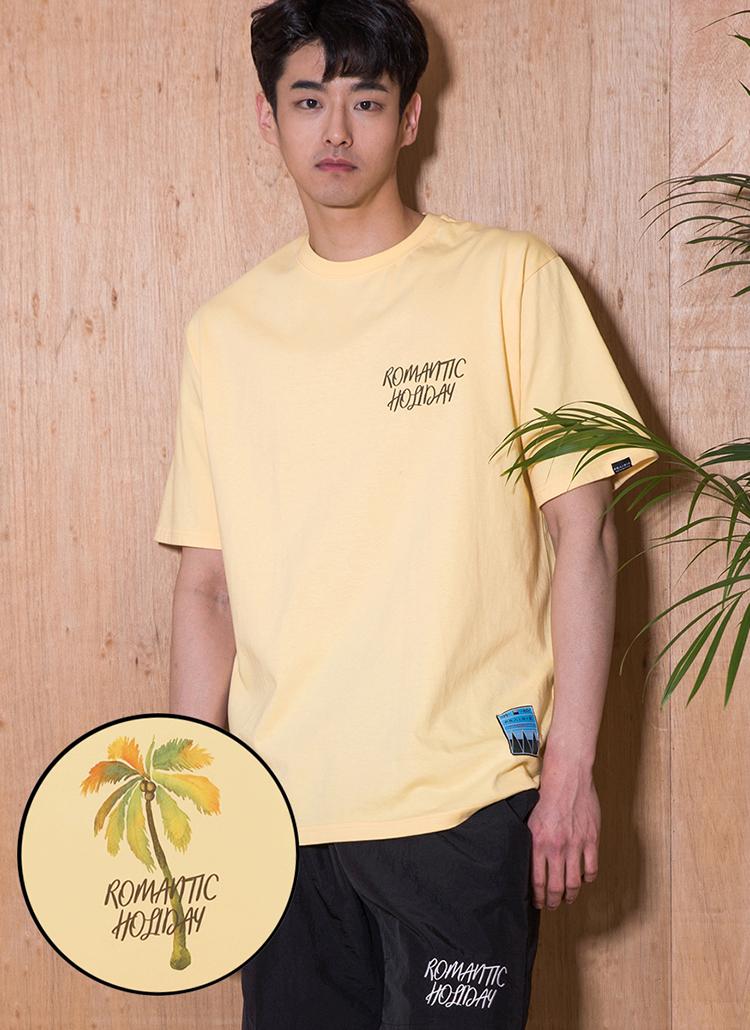 ロゴプリント半袖Tシャツ(イエロー)