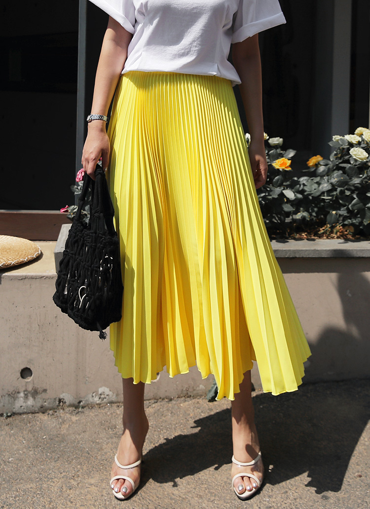 プリーツカラースカート・全5色