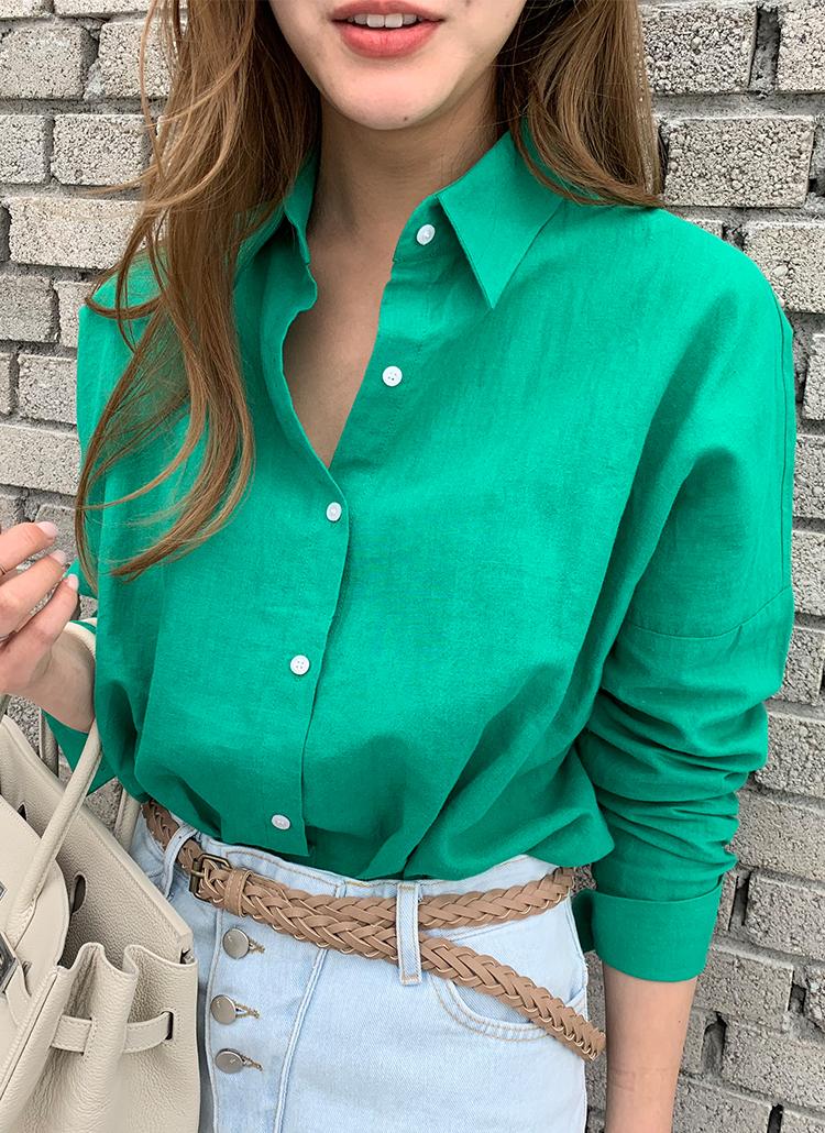 リネン混紡カラーボタンシャツ