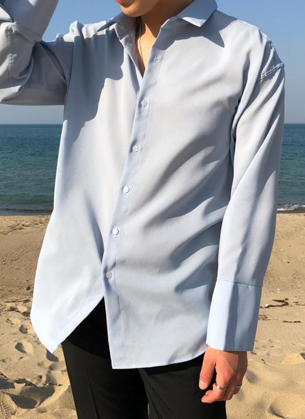ワイドカフスオーバーポケットレスシャツ