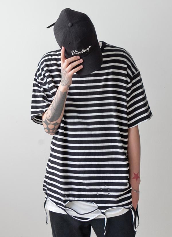ボーダーオーバーフィットダメージTシャツ